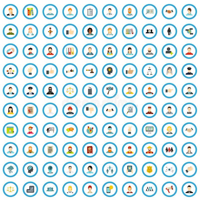 100 icônes sociales d'opinion réglées, style plat illustration libre de droits