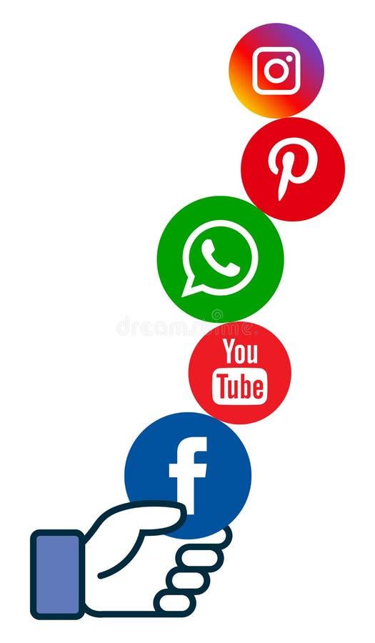 Icônes sociales de media à disposition illustration libre de droits