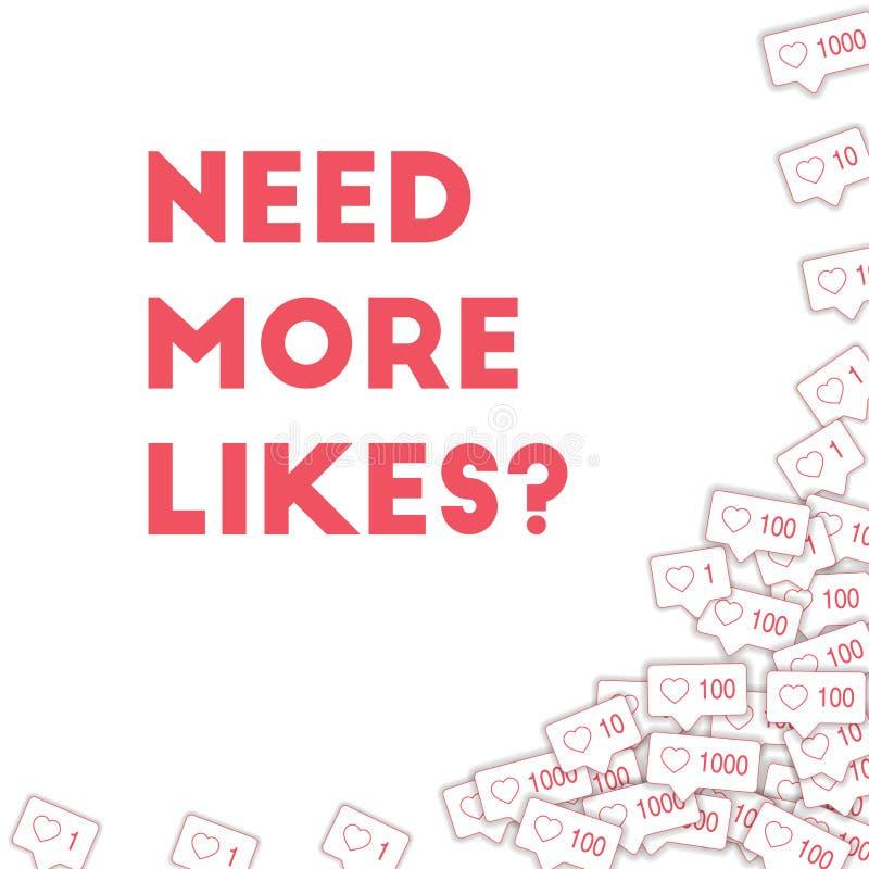 Icônes sociales de media Ayez besoin de plus de concept de goûts Le rose en baisse aiment contre Bot droit abstrait fascinant illustration libre de droits