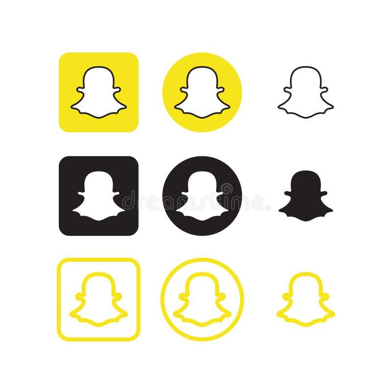 Icônes sociales de media de Snapchat illustration de vecteur