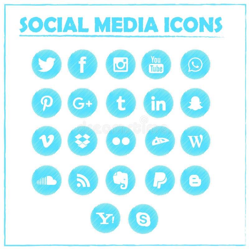 Icônes sociales de media Symboles de vecteur illustration de vecteur