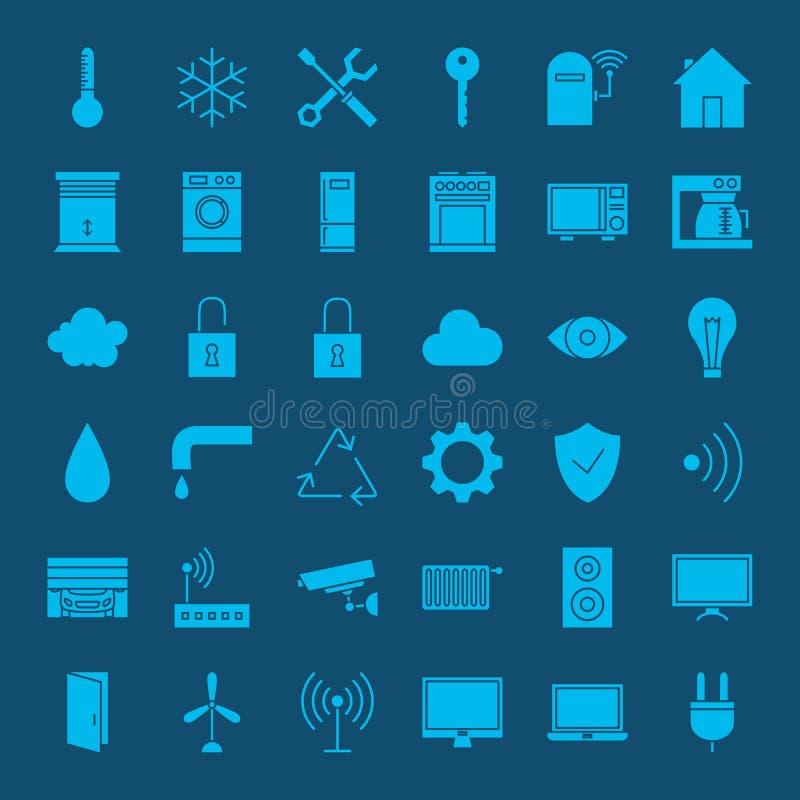 Icônes solides à la maison futées de Web illustration libre de droits