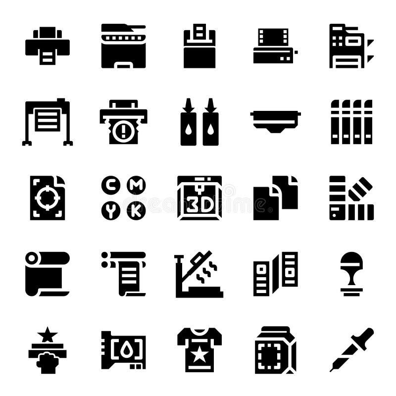 Icônes solides d'imprimante et de conspirateur illustration de vecteur