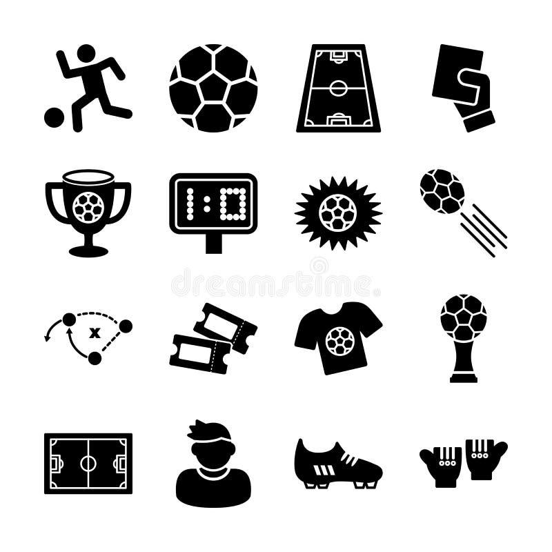 Icônes solides du soccer illustration libre de droits