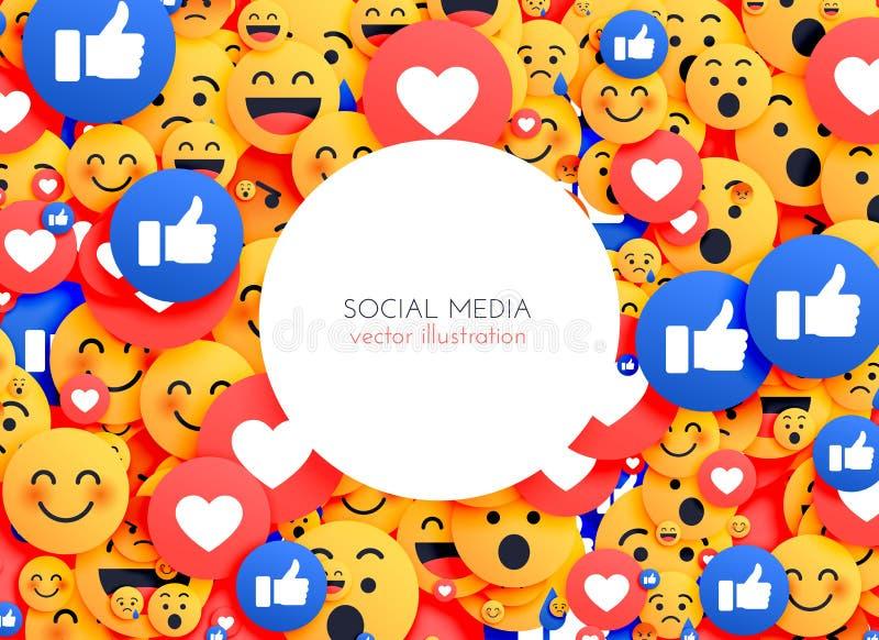 Icônes souriantes de fond d'Emoji pour le media social illustration stock