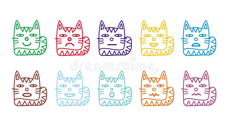 10 icônes souriantes sous forme de chats drôles illustration libre de droits