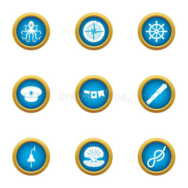 Icônes sous-marines du monde réglées, style plat illustration stock