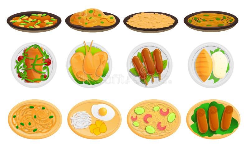 Icônes thaïlandaises ensemble, style de nourriture de bande dessinée illustration de vecteur