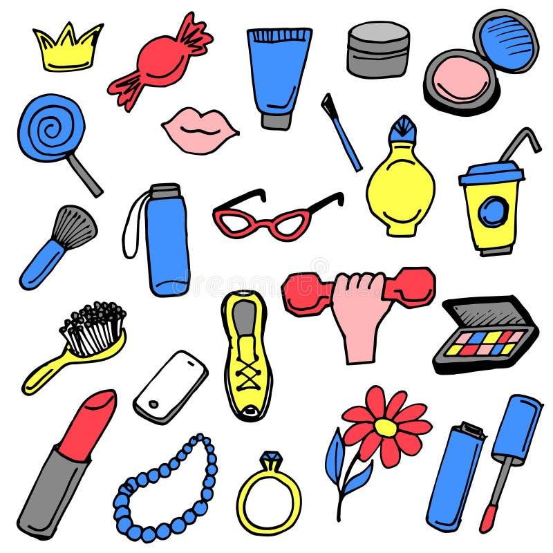 Icônes tirées par la main de choses de fille réglées colorées illustration de vecteur