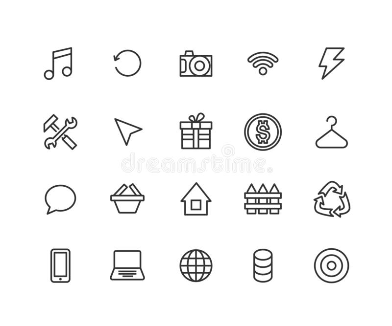 Icônes universelles d'ensemble pour le Web et le mobile E editable illustration libre de droits