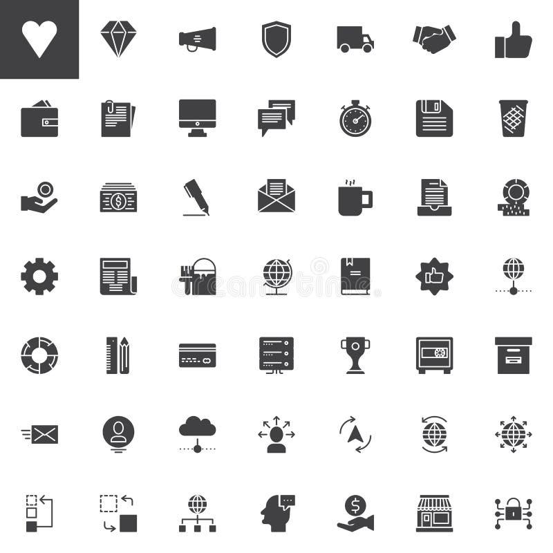 Icônes universelles de vecteur d'affaires réglées illustration stock