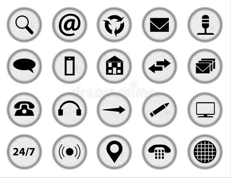 Icônes utiles réglées d'icône de Web au-dessus de fond de blanc d'A illustration stock