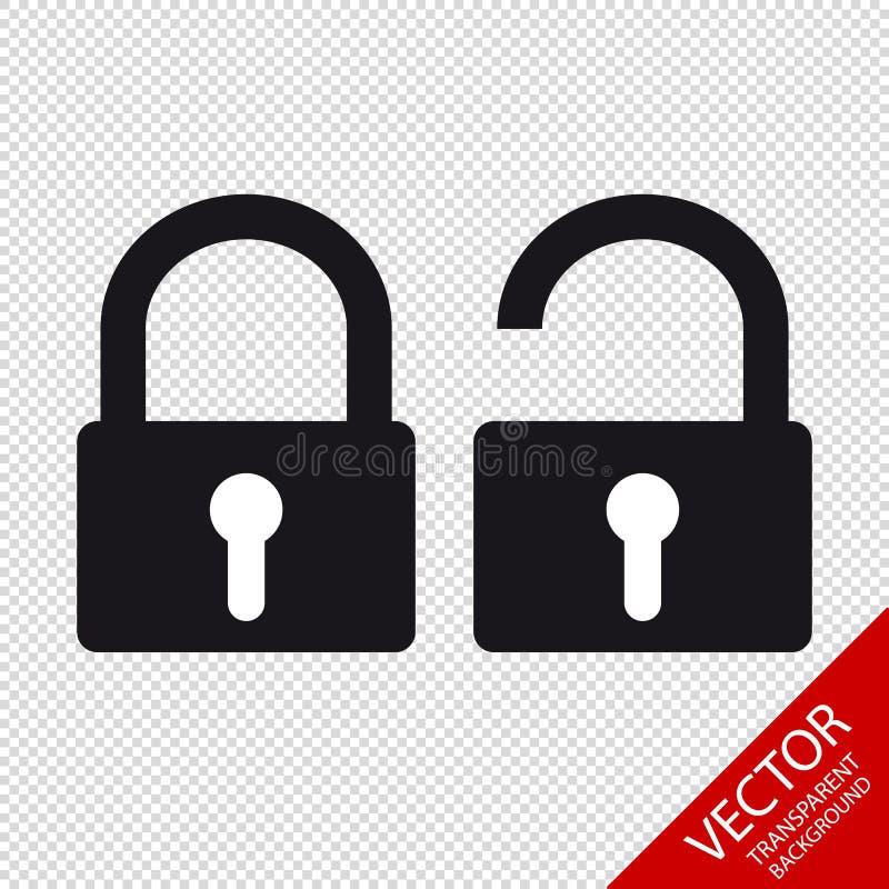 Icônes verrouillées et débloquées de cadenas de sécurité - de vecteur - d'isolement sur le fond transparent illustration libre de droits