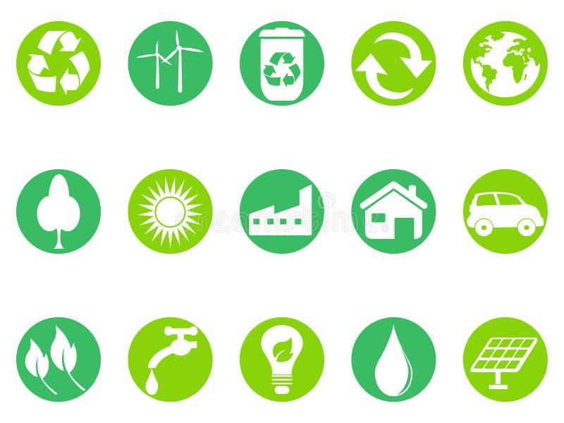 Icônes vertes de bouton d'eco réglées illustration libre de droits