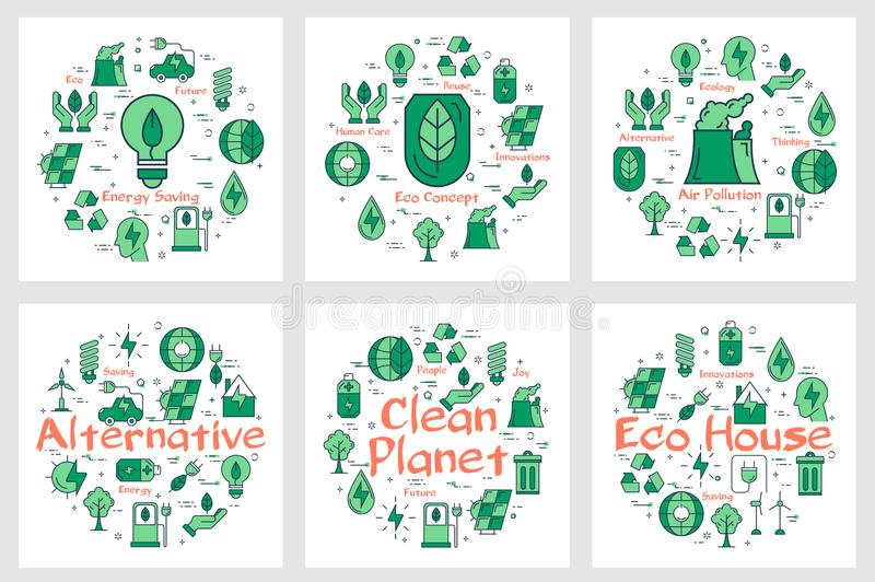 Icônes vertes de concept d'Eco dans la collection illustration stock