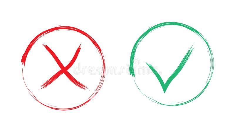 Icônes vertes oui pas rouges utilisant la brosse illustration libre de droits
