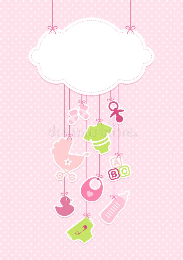 Icônes verticales fille de bébé de carte et fond Dots Pink de nuage illustration de vecteur