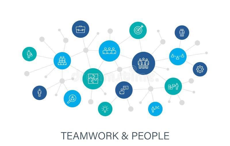 Icônes Web Concept TeamWork en ligne Travail d'équipe, personnel, support, entreprise Réseau numérique, médias sociaux Vecteur illustration stock