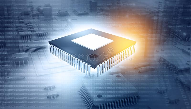 ic-chip på strömkretsbräde arkivfoto