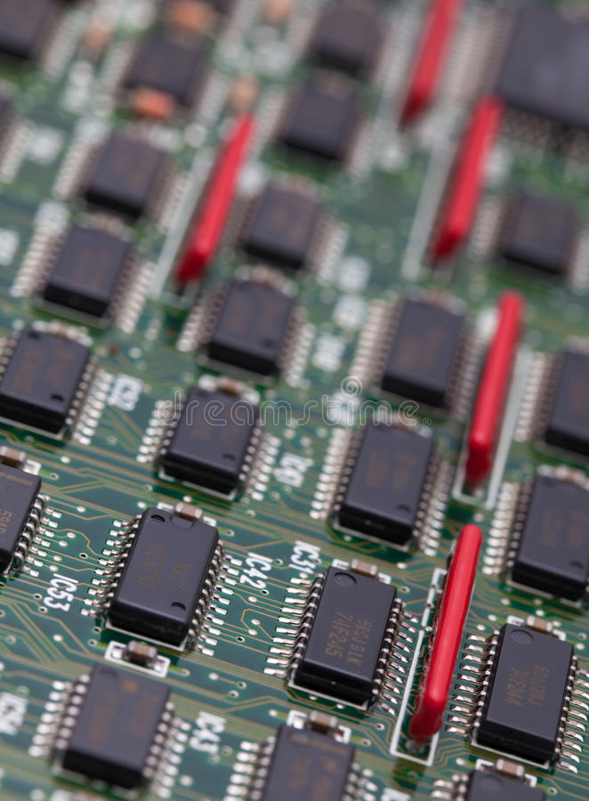 IC on green PCB.  stock image