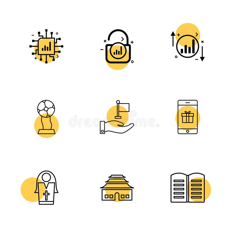 Ic , lock , unlock , graph , up , down , book , smart phone ,si. Ster , globe , flag icon, vector, design, flat, collection, style, creative, icons - This Vector stock illustration