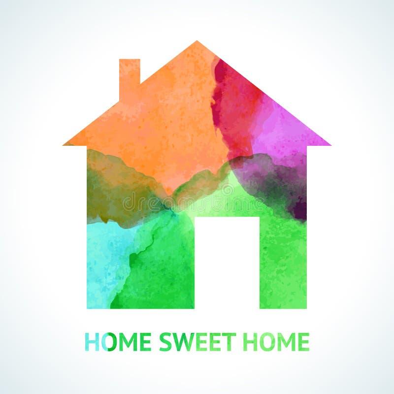 Icône à la maison douce pour aquarelle sur le fond blanc illustration libre de droits
