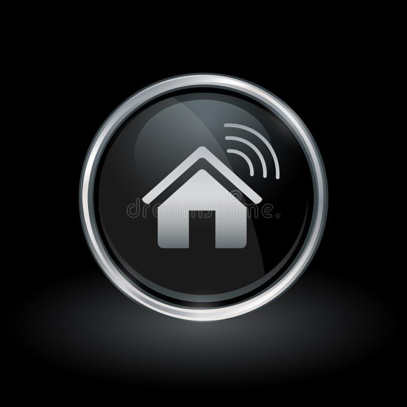 Icône à la maison futée sans fil à l'intérieur d'argent rond et d'emblème noir illustration stock