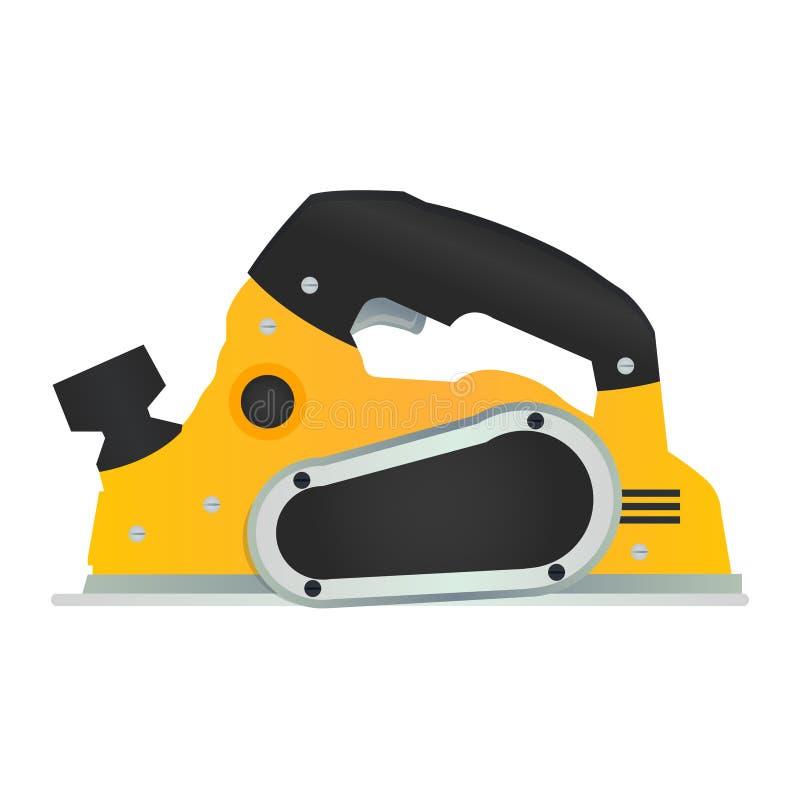 Icône électrique de vecteur plat de main Symbole en bois de planeuse de puissance Woodw illustration libre de droits