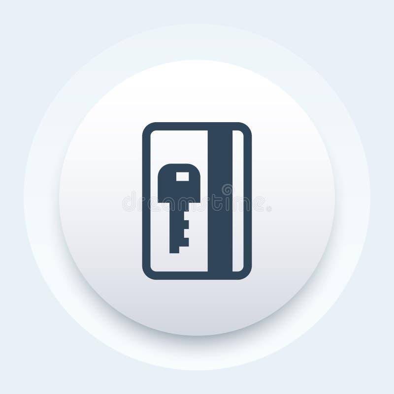 Icône électronique de passage, signe de vecteur de clé de carte illustration stock