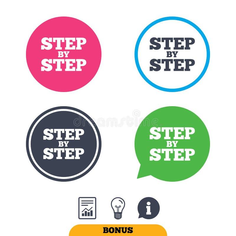 Icône étape-par-étape de signe Symbole d'instructions illustration de vecteur