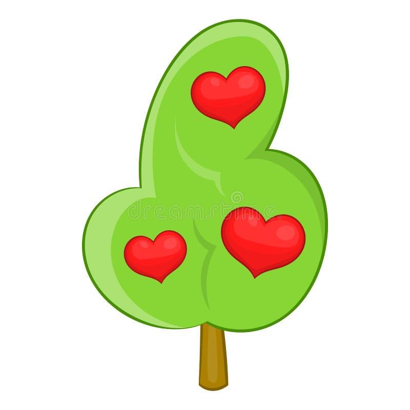 Icône abstraite d'arbre de coeur, style de bande dessinée illustration de vecteur