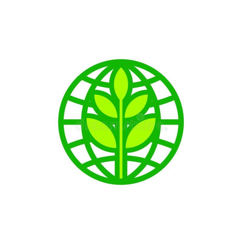 Icône abstraite de globe de jour de terre du monde avec la feuille illustration stock