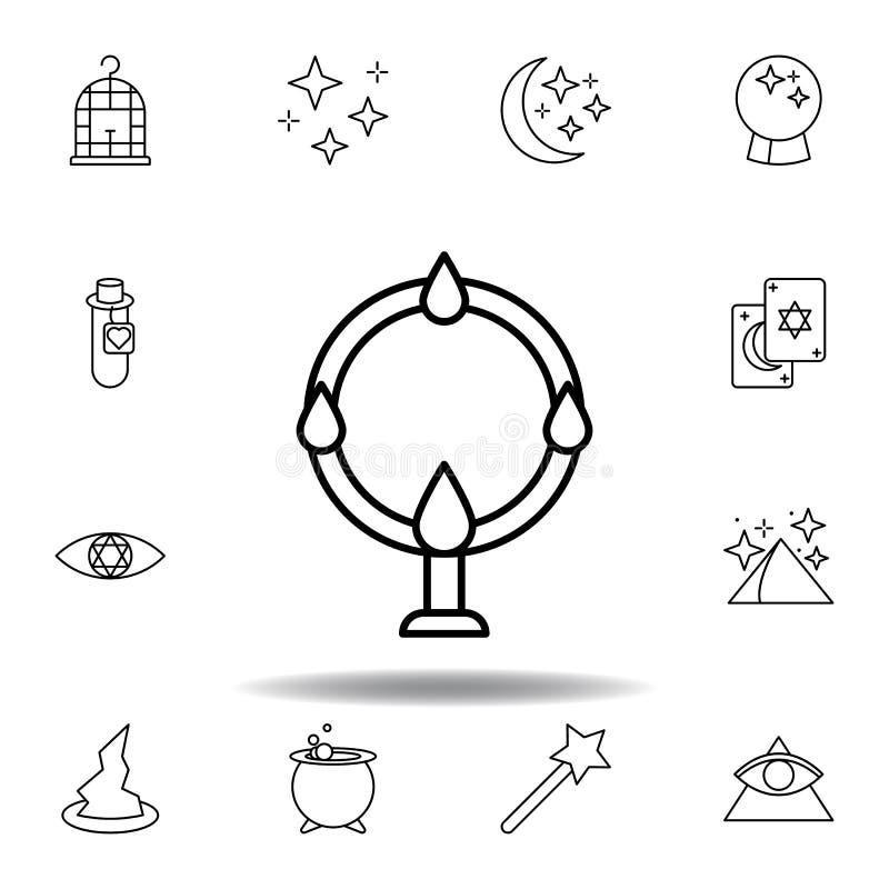 Ic?ne acrobatique magique d'ensemble éléments de ligne magique icône d'illustration des signes, symboles peuvent être employés po illustration de vecteur