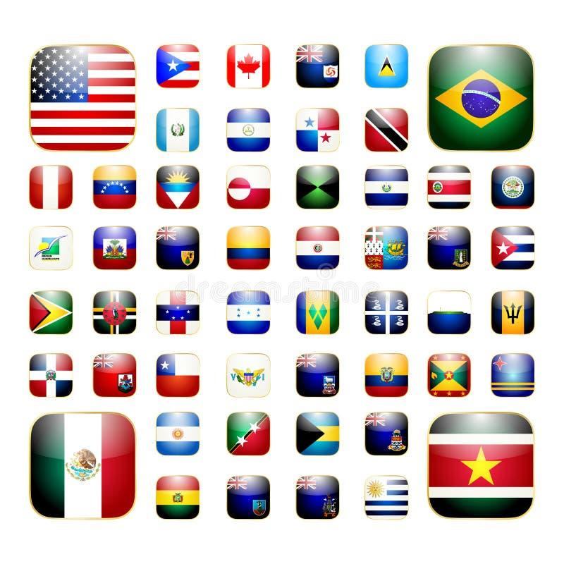Icône américaine du continent APP illustration stock