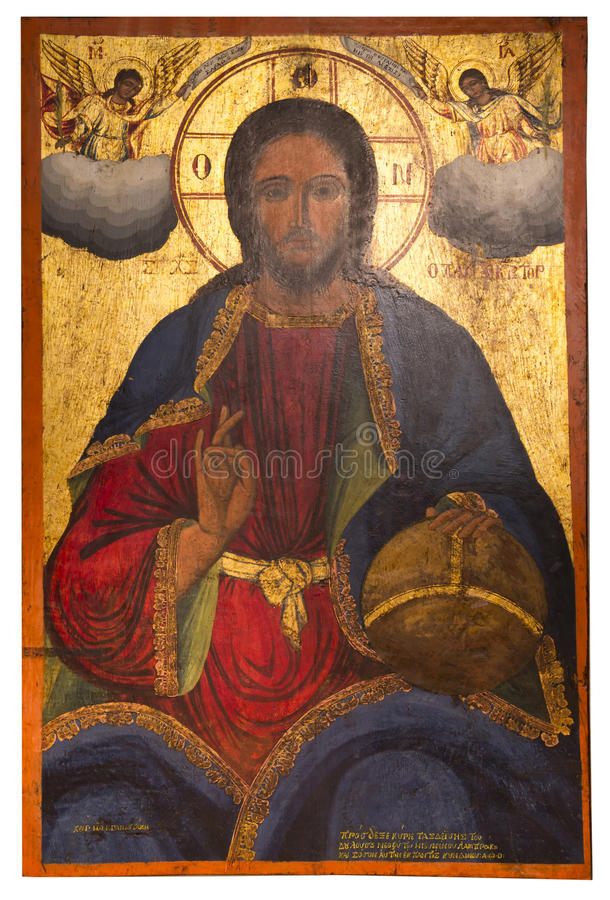 Icône antique du monastère du Panayia Kera.Island de Crète photographie stock libre de droits