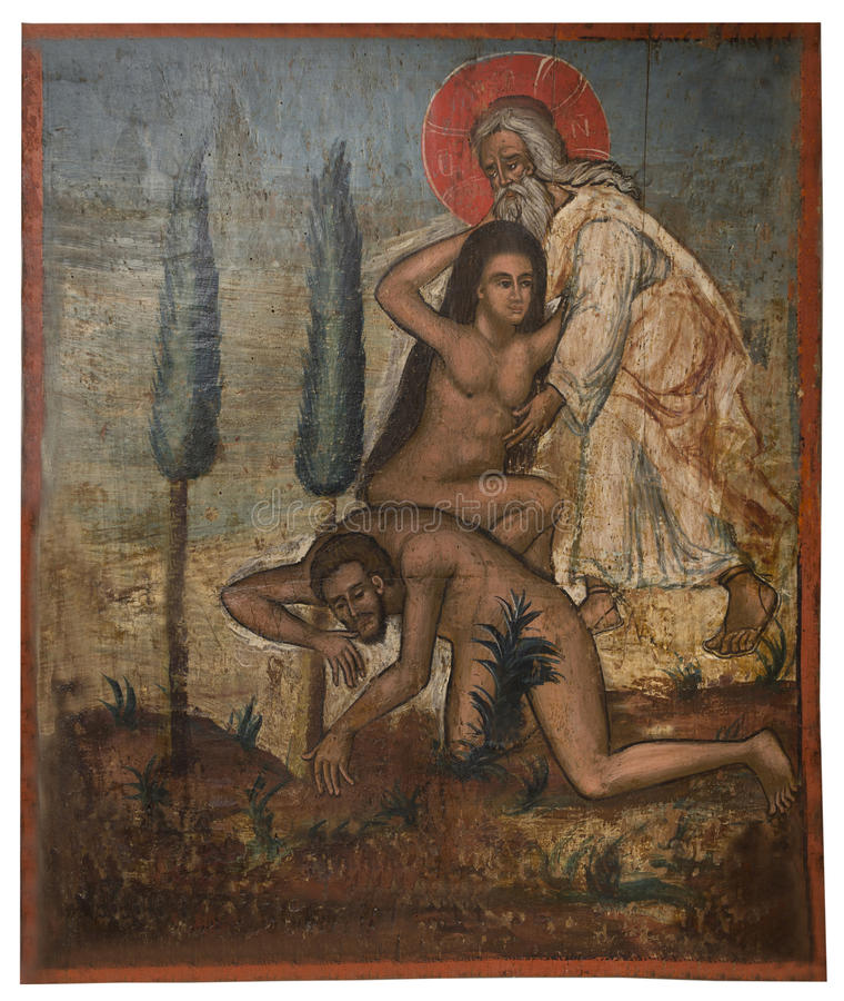 Icône antique du monastère du Panayia Kera.Island de Crète image stock