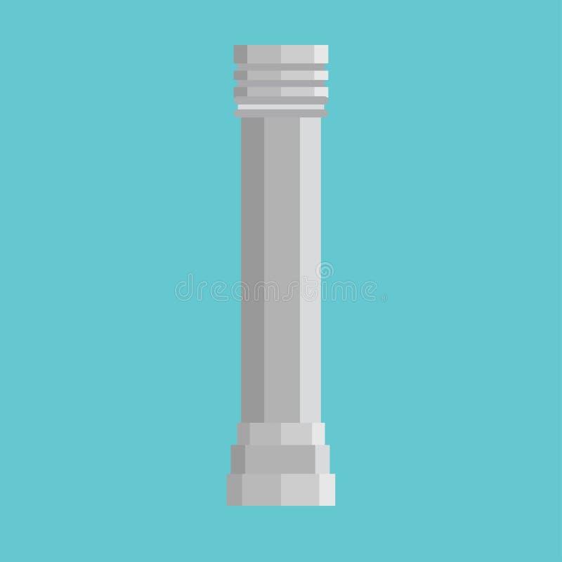Ic?ne architecturale de vecteur d'?l?ment de monument classique de symbole d'histoire de colonne Barre de marbre ext?rieure de sc illustration de vecteur