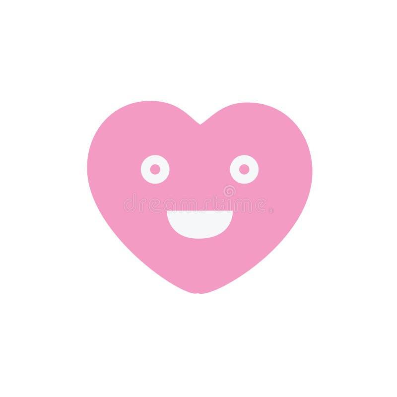 Icône assez rose de signe de visage de coeur de sourire Symbole souriant heureux de causerie Bouton plat coloré de conception Ill illustration stock