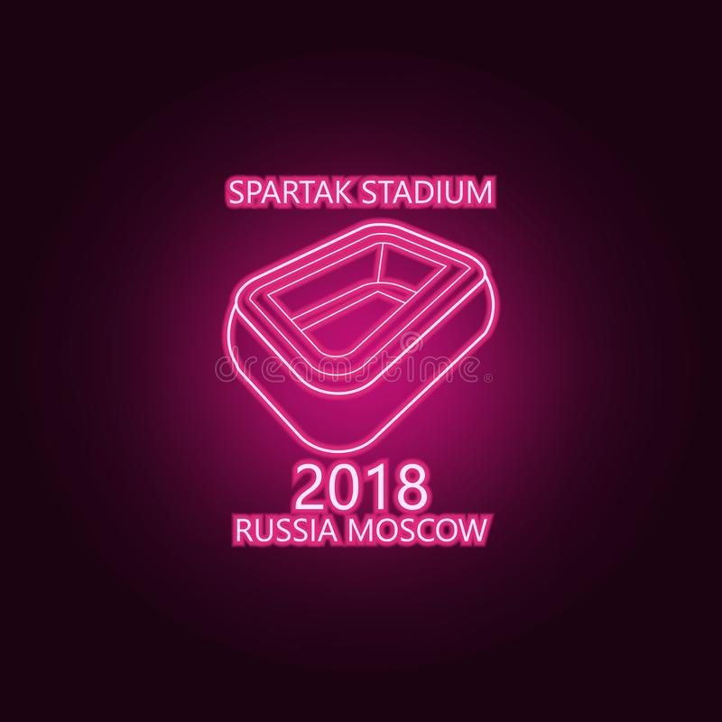 ic?ne au n?on de Spartak 2018 de stade ?l?ments d'ensemble du championnat 2018 E illustration libre de droits