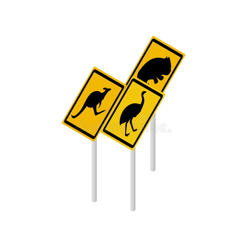 Icône australienne de panneaux routiers de faune illustration de vecteur