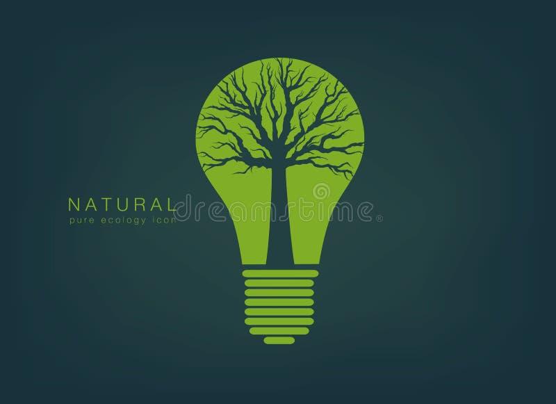 ic ne avec une ampoule et un arbre de feu vert illustration de vecteur illustration du ampoule. Black Bedroom Furniture Sets. Home Design Ideas