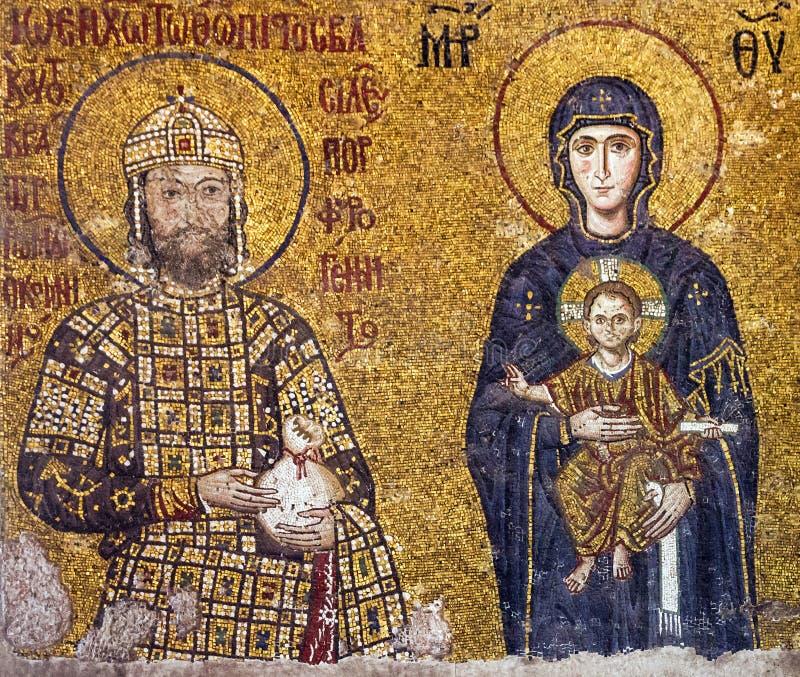 Icône bizantine de mosaïque Vierge Marie et de saint Constantine dans l'ha photos stock