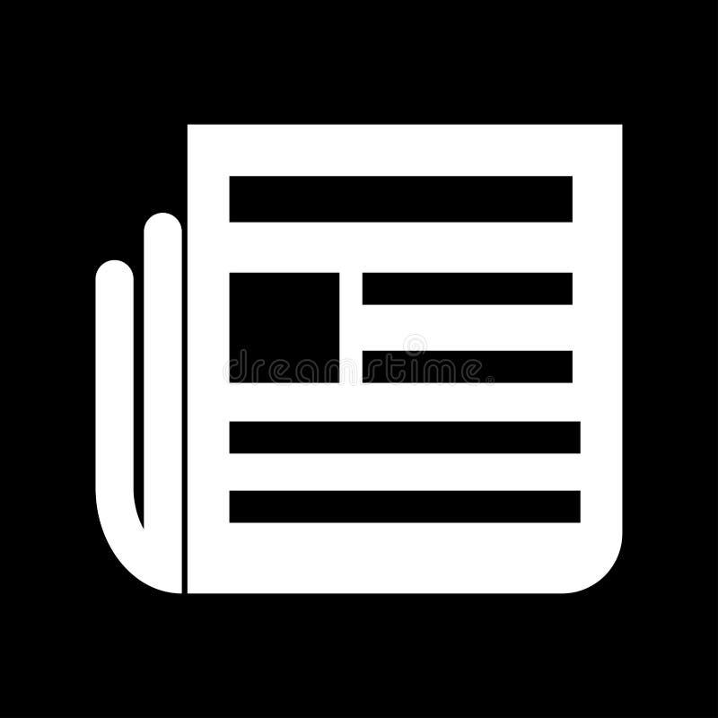 Icône blanche de couleur de journal illustration stock