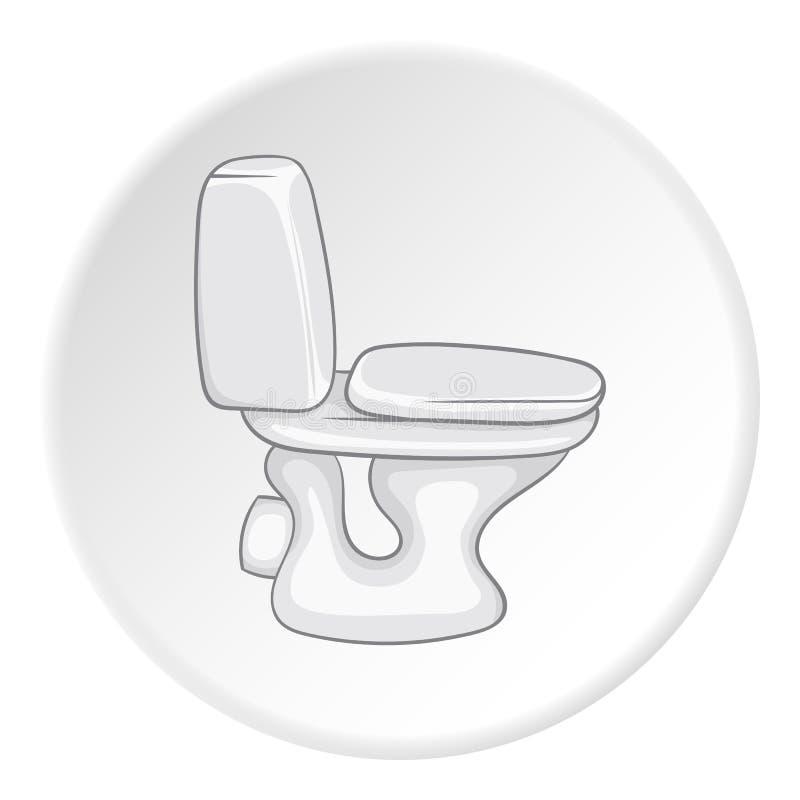 Icône blanche de cuvette des toilettes, style de bande dessinée illustration libre de droits