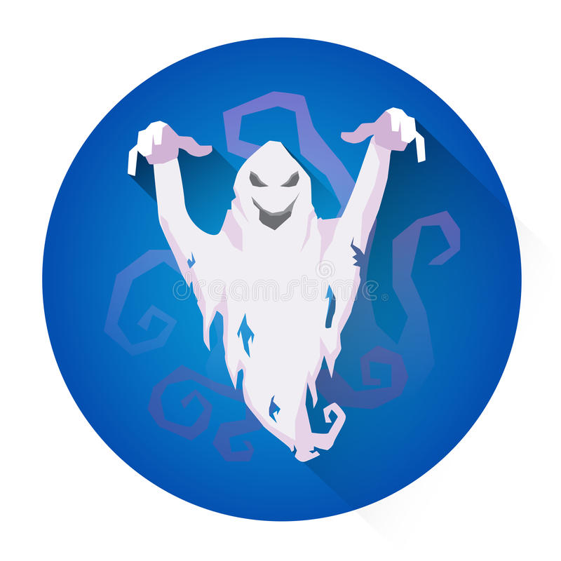 Icône blanche de vacances de Ghost Halloween d'alerte illustration stock