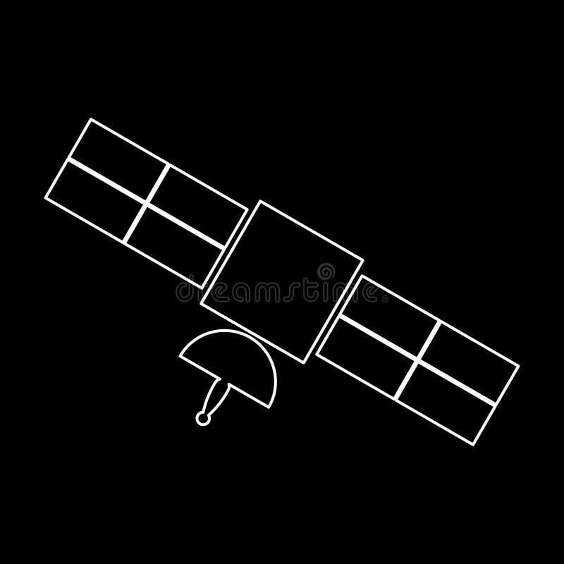 Icône blanche satellite de couleur illustration de vecteur