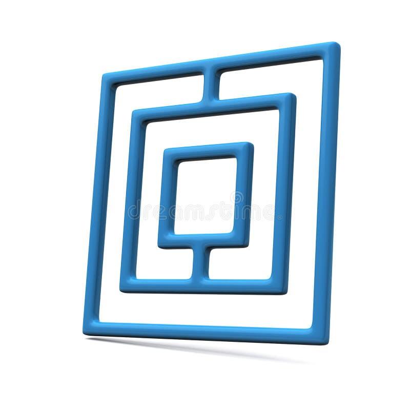 Icône bleue 3d de labyrinthe illustration de vecteur
