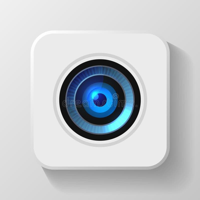 Icône bleue d'objectif de caméra sur le blanc Vecteur illustration de vecteur