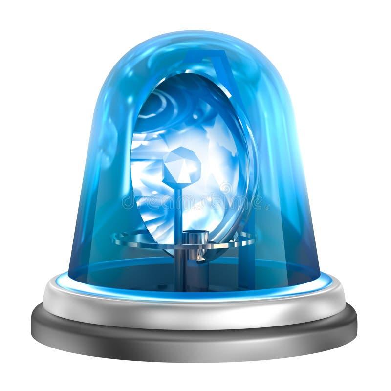 Icône bleue de clignoteur D'isolement sur le blanc illustration stock