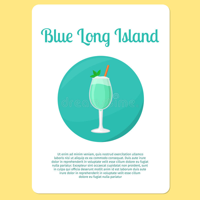 Icône bleue de cocktail du Long Island illustration stock